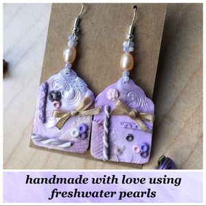 Shabby Chic Scrapbook Tag Earrings, Purple